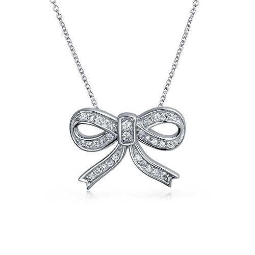 Holiday Cubic Zirconia Pave CZ Station Ribbon Bow Pendant Necklace For Women For Teen 925 Sterling Silver