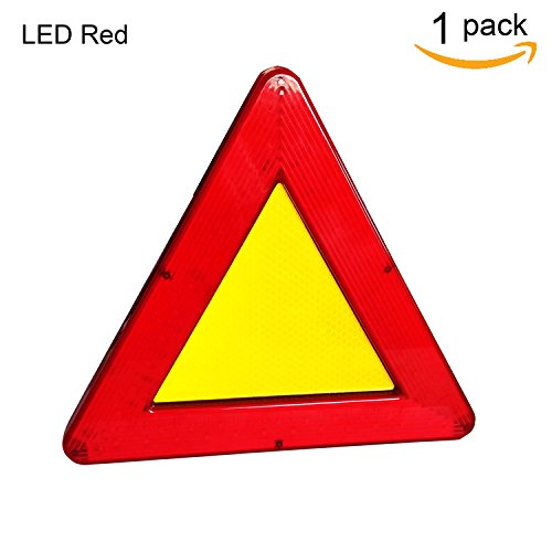 WELLHOME Roadside Red Emergency Safety Triangle Reflective Kit for Vehiclesr,2 Modes Lasting Lighting and Flicker Lighting,9.05 Inch - 1 Pack by WELLHOME (Image #6)
