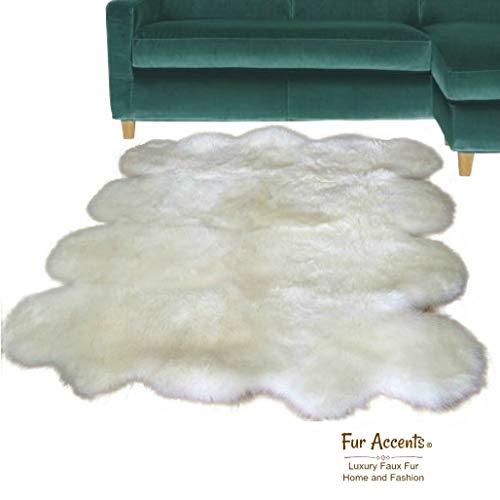 - Fur Accents Thick Shag Faux Fur Octo Sheepskin/Polar Bear Area Rug Random Scallop Pelt Design/White (5'x10')