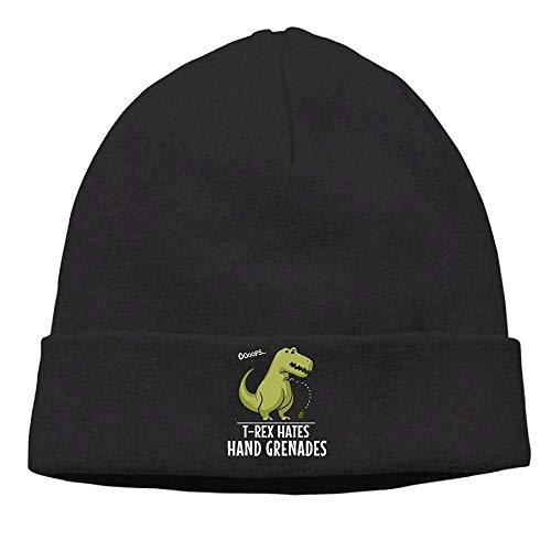 Men Women T-Rex Hates Hand Grenades Soft Beanie Hats Outdoor Newsboy Hat ()
