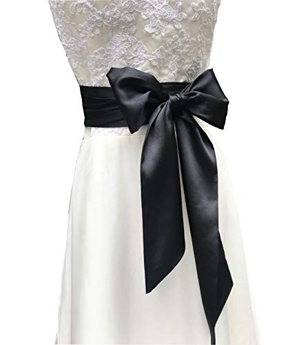 Eyrie Special Occasion Dress Sash Wedding Sash Bridal Belts 4'' Wide Double Side (Black)