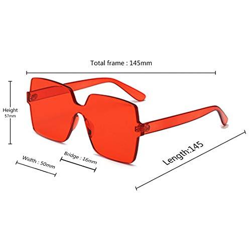 Lentille Surdimensionnées Inlefen Transparent Lunettes Mode Rouge Soleil Couleur Unisexe Carré De Bonbon qHvXxq
