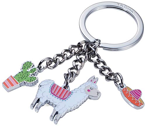 TROIKA PAKO - KR18-10/CH - Keyring with 3 charms - Llama - Alpaca - South America - cast metal/enamel- shiny - chrome plated - multicoloured - - Accessories Chromes Ande