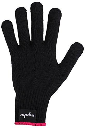 Eqoba Heat Resistant Flat Iron Glove, Professional Anti-Burn Protection Black Glove Pink Cuff