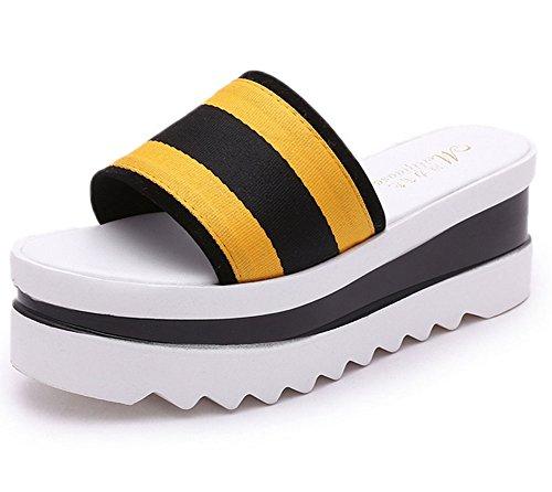 KUKI Sandalias de suela gruesa de las sandalias de las mujeres 2