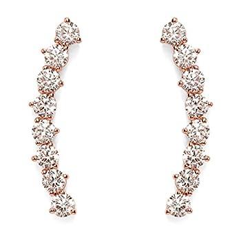 "- 41ZKAHtHMdL - PAVOI 14K Gold Plated""Hearts & Arrows"" Simulated Diamond Ear Crawler – Cuff Earrings Hypoallergenic Stud Ear Climber Jackets"