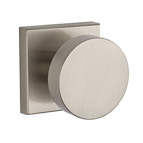 Baldwin PS.CON.CSR Modern Passage Door Knob Set with Modern Square Trim from the, Polished Nickel ()