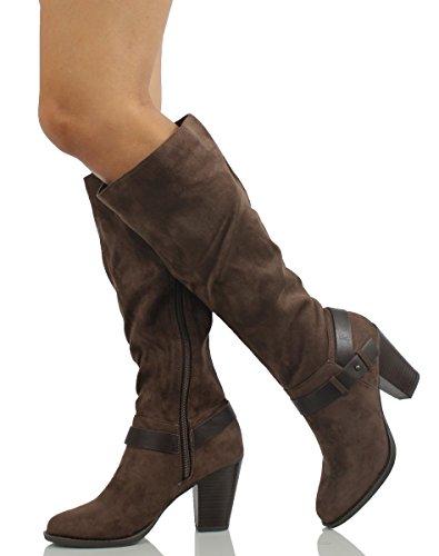 Deliziose Scarpe Da Donna Eleganti In Camoscio Finto Scamosciato Con Tacco Grosso, Talpa, 8 M Beige