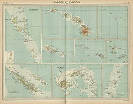 Amazon.com: Hawaii Cook Fiki Samoa Tonga Tahiti New Hebrides ... on vintage map of southeast asia, vintage map of costa rica, vintage map of caribbean,