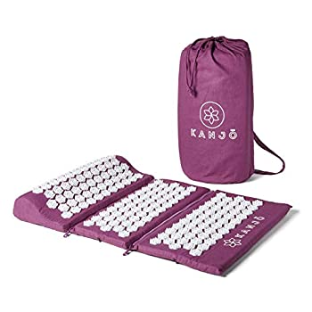Image of Kanjo - Acupressure Zip-Apart Mat - Acupressure Mat with Built-in Pillow - Travel Mat with Travel Pillow - Neck, Foot & Back Pain Relief - Stress Relief & Relaxation - Includes Travel Bag - Amethyst Acupuncture