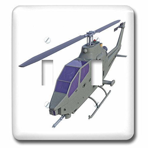 3dRose Boehm Graphics Aircraft - Cobra Helicopter Flying To The Front - Light Switch Covers - double toggle switch (lsp_253229_2) (Helicopter Front)