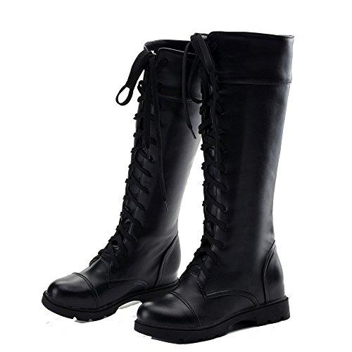 Shoes Niedriger Damen Schließen Schnüren Zehe AgeeMi Winter Absatz Stiefel PU gw1nEdqR