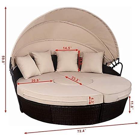 Amazon.com: Tangkula Sofá cama redondo para patio y ...
