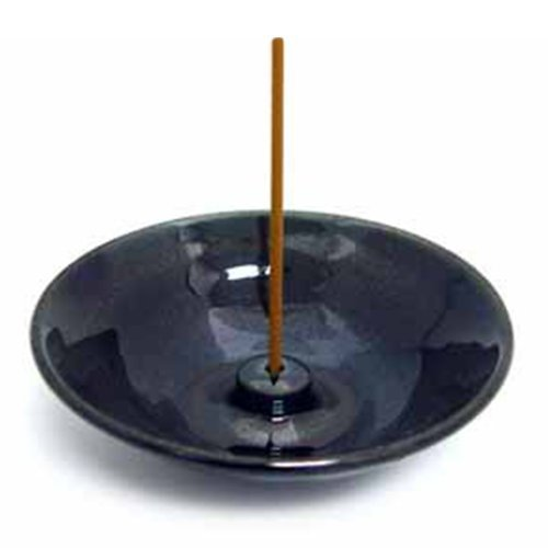 Shoyeido Premium HandCrafted Ceramic Round Incense Burner/Holder - Obsidian