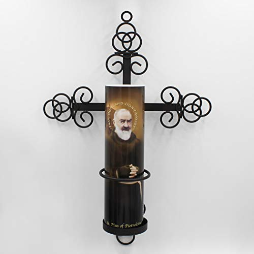 Padre Pio LED Flameless Devotional Candle with Trinity Wall Sconce