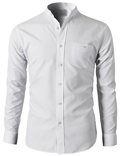 H2H Mens Casual Slim Fit Oxford Mandarin Collar Button-down Cool Shirt WHITE US L/Asia 2XL (KMTSTL0501)