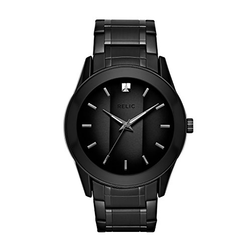 Relic by Fossil Men's Rylan Quartz Stainless Steel Diamond Accent Dress Watch, Color: Black (Model: ZR77271)