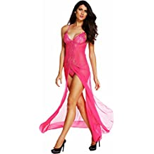 Honeystore Women's Sexy Chiffon Babydoll Nightwear Long Gown Lingerie with Thong