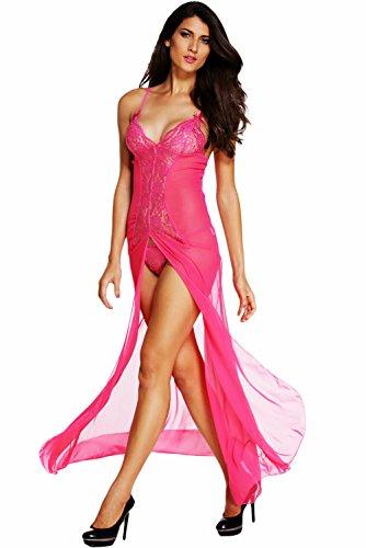 Honeystore Women's Sexy Chiffon Babydoll Nightwear Long Gown Lingerie with (Wedding Dress Lingerie)