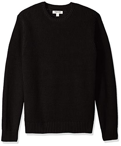 Goodthreads Men's Soft Cotton Rib Stitch Crewneck Sweater, Solid Black, Medium ()