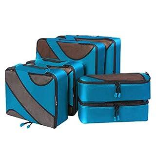 Bagail 6 Set Packing Cubes,3 Various Sizes Travel Luggage Packing Organizers(Dark Blue)