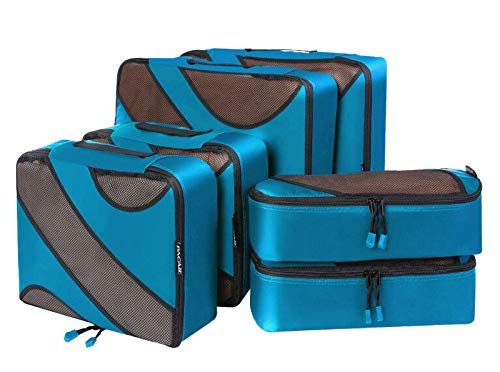 6 Set Packing Cubes,3 Various Sizes Travel Luggage Packing Organizers (Dark Blue) ()