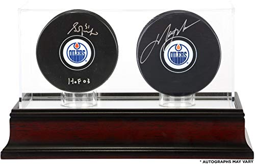 Mark Messier Autographed Oilers - Grant Fuhr and Mark Messier Edmonton Oilers Autographed Hockey Pucks with Mahogany Two-Puck Case - Fanatics Authentic Certified