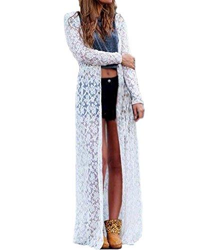 ZANZEA Women Open Kimono Cardigan Long Casual Long Sleeve Coat - 1