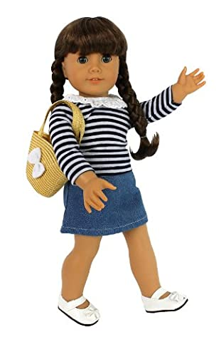 Casual School Outfit for American Girl Dolls: 4 Pc Clothes Set w Shirt, Skirt, Shoes, and Purse