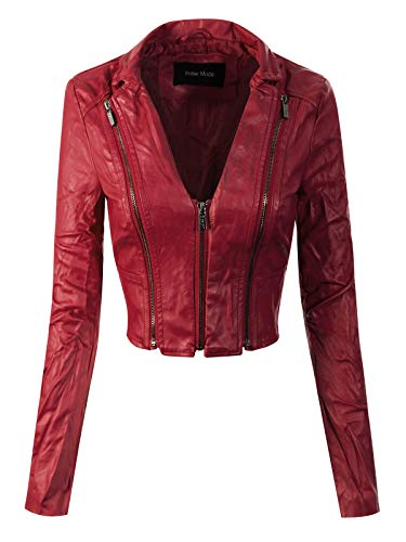 Instar Mode Women's Stylish Trendy Bomber Faux Leather Motorcycle Cropped Rider Jacket Red M ()