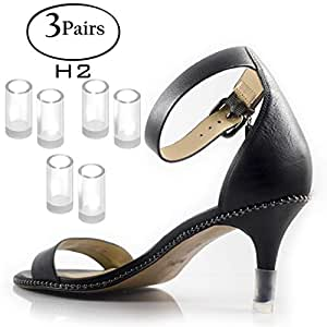 1952dd1cac03c Heel Hunks Clear-Glass H2 10mm 3-Pairs Heel Protectors Replacement Tip Caps  for High Heel Shoes...