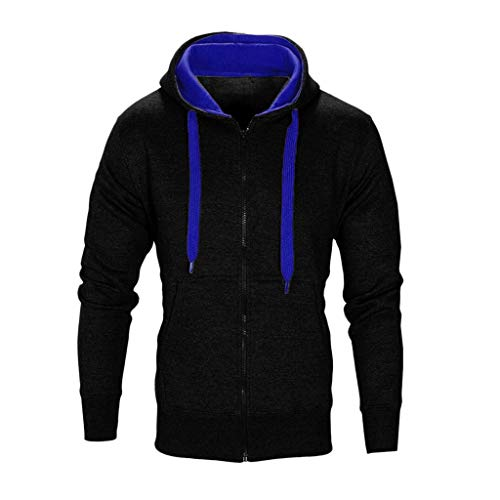 QBQCBB Men Casual Hooded Zipper Long Sleeve Solid Color Gym Sports Pullover(Black A,XXL) ()