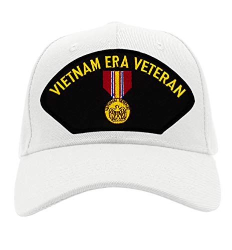 Patchtown National Defense Service Medal - Vietnam Era Hat/Ballcap Adjustable One Size Fits Most (White, Add American - American Medal Defense