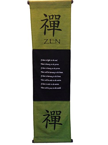 Large Cotton Zen Inspirational Yoga Banner Scroll Style Three Color Choice (Olive green) Olive Streamer