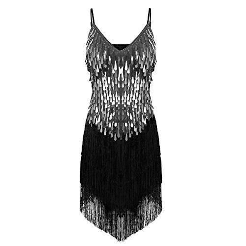 Dance Tassels Women's Samba CHICTRY Fringe Latin Dress Silver Ballroom Sequin Tango C78SRq