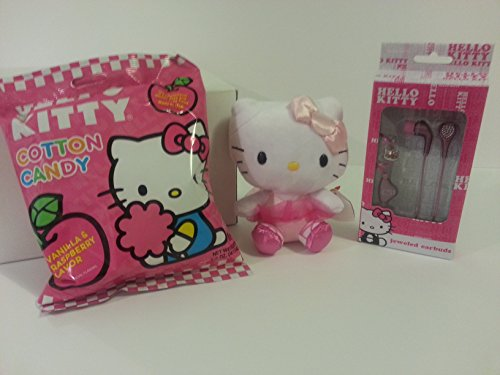 Price comparison product image Best Birthday Gift Set Plush Hello Kitty Pink Ballerina Ty Beanie Baby,  Jeweled Earbuds,  & Cotton Candy and Glossy White Gift Box