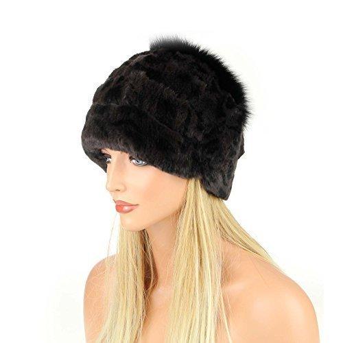 Damen Pelzmütze Oversizemütze Beanie Mütze Fellmütze FUCHS Wintermütze Skimütze Fox Kappe Pelzkappe Fuchsmütze