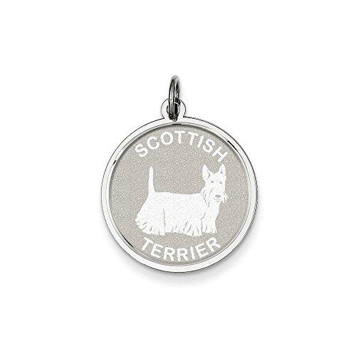 Sterling Silver Scottish Terrier Disc Charm Pendant