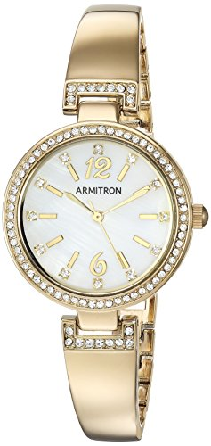 Armitron Women's 75/5475MPGB Swarovski Crystal Accented Gold-Tone Bangle Watch