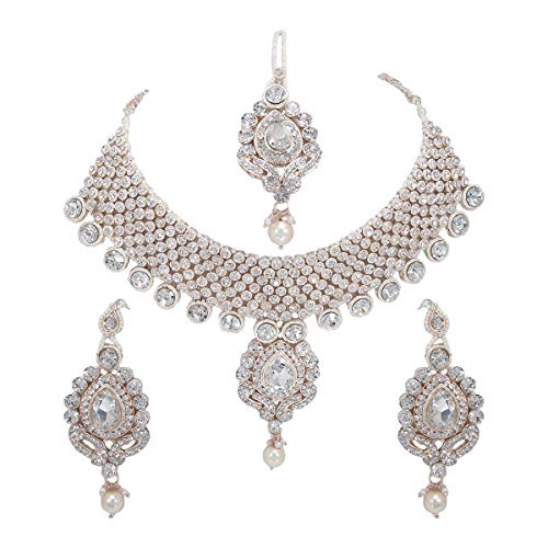 CROWN JEWEL Indian Bollywood Gold Plated Fashion Wedding Bridal Jewelry Necklace Earring Set for Women (White)