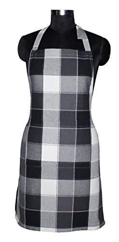AIRWILL Cotton Yarn-Dyed Check Apron with Center Pocket, Adjustable Buckle on Top and 2 Long Ties on 2 Sides, 65x80cm, Jacquard Black, Grey and White Price & Reviews