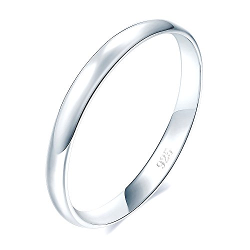 925 Sterling Silver Ring High Polish Plain Dome Tarnish Resistant Comfort Fit Wedding Band 2mm Ring Size 8