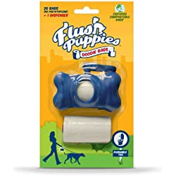 Flush Puppies Doodie Bags, Flushable & Certified Compostable, Dispenser + 2 Refill Rolls (20 Bags)