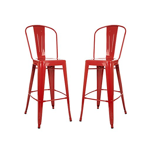 Glitzhome 1005002999 Red Metal Bar Stool (2 Set) (Bar Breakfast Red Stools)