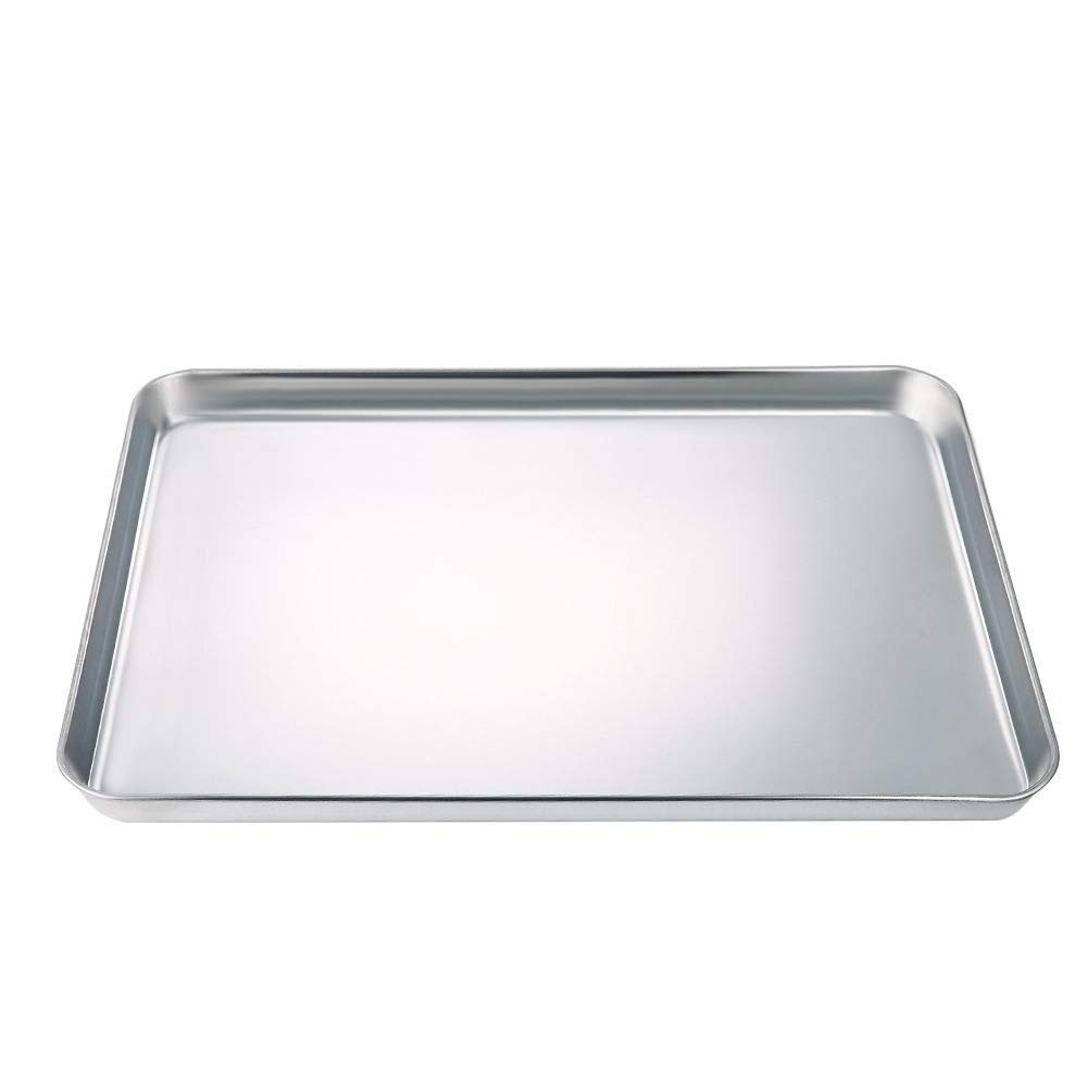 Baking Sheet, Stainless Steel Baking Tray Cookie Sheet Toaster Oven Pan (Rectangle Size 16 x 12 x 1 inch, Non Toxic & Healthy, Rust Free & Less Stick, Thick & Sturdy, Easy Clean & Dishwasher Safe)