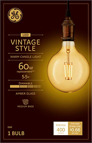 GE Globe LED Vintage Light Bulb, G40 Amber Glass LED Edison Bulb (60 Watt Replacement Dimmable LED Light Bulbs), 400 Lumen, Medium Base Light Bulbs, 1-Pack E26 Edison Bulb