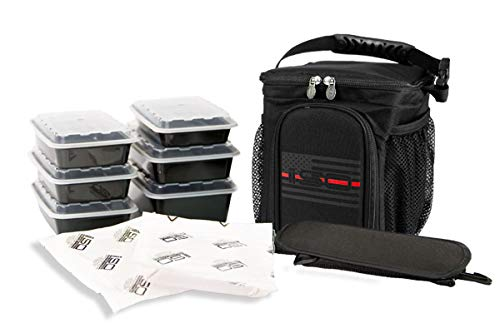 Isolator Fitness 3 Meal ISOCUBE Meal Prep Management Insulated Lunch Bag Cooler with 6 Stackable Meal Prep Containers, 2 ISOBRICKS, and Shoulder Strap – MADE IN USA (Thin Red Line)