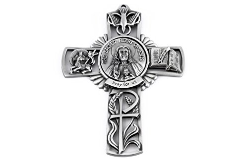 Pewter Catholic The Sacred Heart of Jesus Pray for Us Wall Cross, 5 - Pewter Figurine Heart