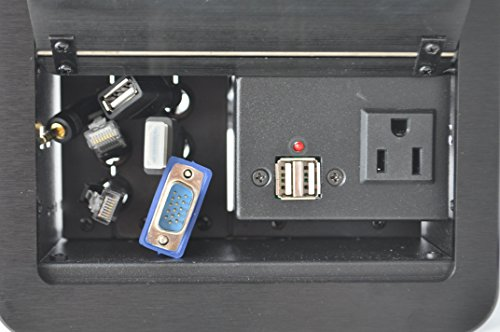 Yolkvisual Conference Table Connectivity Box 1 x AC Pwr (US) + 2 US B charger + 1USB(M/M) + 1 VGA + 1 HDMI + 2 RJ45(CAT6) + 1 Audio3.5mm, with 1.8M cables by YolkVisual (Image #2)