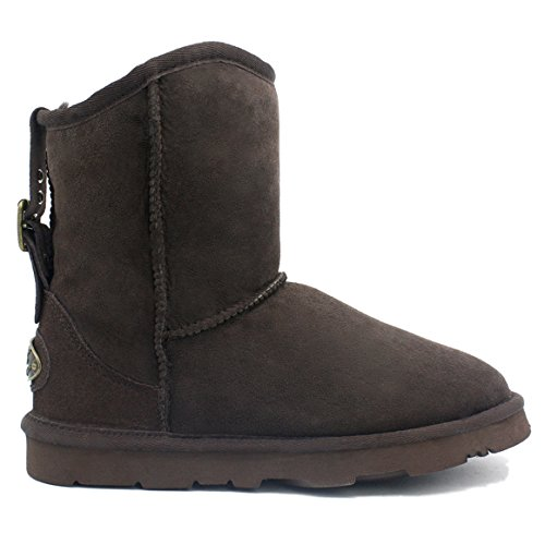 Kingdom of Sheepskin KOS Womens Alexia Short Premium Twin-Faced Australian Sheepskin Winter Boot Lux Chocolate H0j6oe